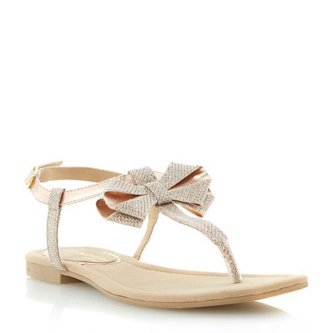 Head Over Heels by Dune - Gold metallic bow trim flat sandal