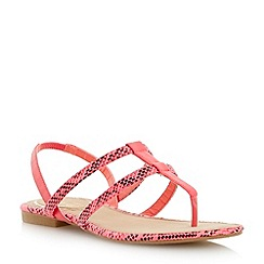 Head Over Heels by Dune - Pink double strap toe post flat sandal