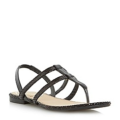 Head Over Heels by Dune - Black double strap toe post flat sandal