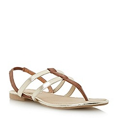 Head Over Heels by Dune - Brown double strap toe post flat sandal