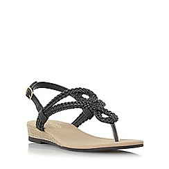 Head Over Heels by Dune - Black 'Levin' plaited toe post sandal