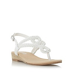 Head Over Heels by Dune - White 'Levin' plaited toe post sandal
