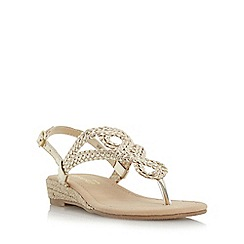 Head Over Heels by Dune - Gold 'Levin' plaited toe post sandal