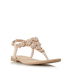 Head Over Heels by Dune - Natural 'Lolina' flower detail toe post sandal