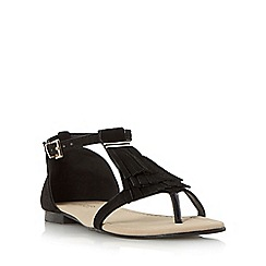 Head Over Heels by Dune - Black 'Lailah' fringe toe post flat sandal