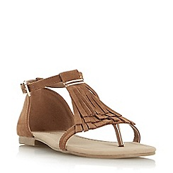 Head Over Heels by Dune - Tan 'Lailah' fringe toe post flat sandal