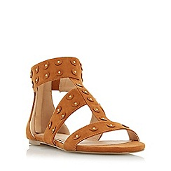 Head Over Heels by Dune - Tan 'Libbey' flat studded sandal