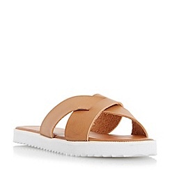 Head Over Heels by Dune - Tan 'Lyttle' crossover strap slider sandal