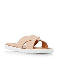 Head Over Heels by Dune - Natural 'Lyttle' crossover strap slider sandal