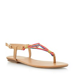 Head Over Heels by Dune - Pink elasticated multi strap toe post sandal