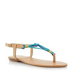 Head Over Heels by Dune - Blue elasticated multi strap toe post sandal