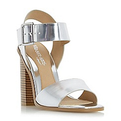 Head Over Heels by Dune - Silver 'Ilana' two part block heel sandal