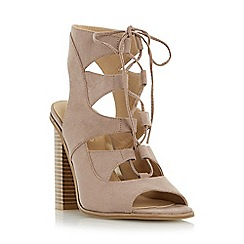 Head Over Heels by Dune - Taupe 'Ivannah' ghillie lace high heel sandal