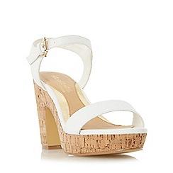 Head Over Heels by Dune - White 'Indiya' two part cork effect platform sandal