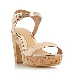 Head Over Heels by Dune - Rose 'Indiya' two part cork effect platform sandal