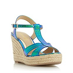 Head Over Heels by Dune - Blue 'Klover' metallic t-bar espadrille wedge