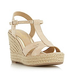 Head Over Heels by Dune - Gold 'Klover' metallic t-bar espadrille wedge