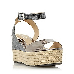 Head Over Heels by Dune - Black 'Kalmia' two part espadrille wedge sandal