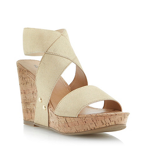 Head Over Heels by Dune - Gold cork-effect wedge with polished stud detail