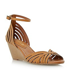 Head Over Heels by Dune - Brown multi strap two part peep toe wedge sandal