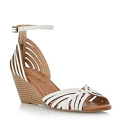 Head Over Heels by Dune - White 'Kruiz' multi strap two part peep toe wedge sandal