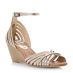 Head Over Heels by Dune - Gold 'Kruiz' multi strap two part peep toe wedge sandal