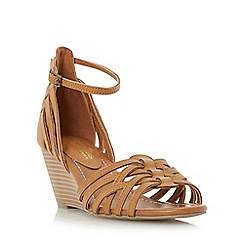 Head Over Heels by Dune - Tan 'Kruizer' strappy two part wedge sandal