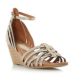 Head Over Heels by Dune - Gold 'Kruizer' strappy two part wedge sandal
