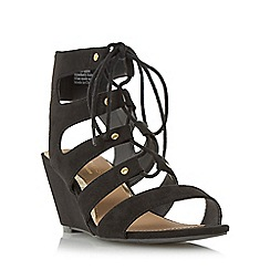 Head Over Heels by Dune - Black 'Kadence' ghillie laced wedge sandal