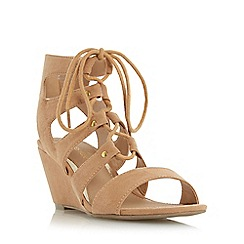 Head Over Heels by Dune - Tan 'Kadence' ghillie laced wedge sandal