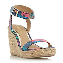 Head Over Heels by Dune - Multicoloured 'Kallisto' two part espadrille wedge sandal