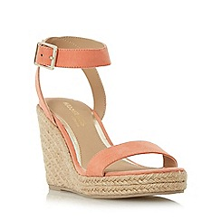 Head Over Heels by Dune - Dark peach 'Kallisto' two part espadrille wedge sandal