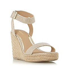 Head Over Heels by Dune - Gold 'Kallisto' two part espadrille wedge sandal