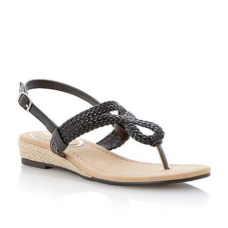 Head Over Heels by Dune - Black mini wedge twisted strap sandal