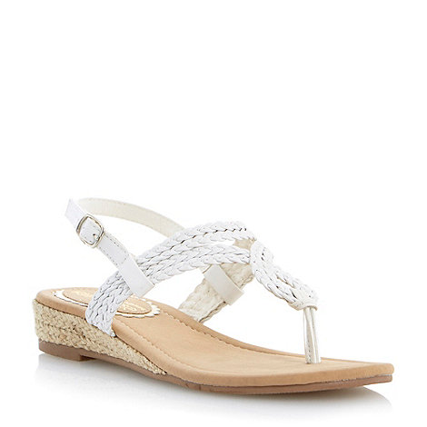 Head Over Heels by Dune - White mini wedge twisted strap sandal