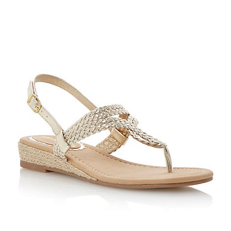 Head Over Heels by Dune - Gold mini wedge twisted strap sandal