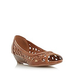Head Over Heels by Dune - Tan 'Kosimo' laser cut out wedge sandal