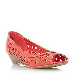 Head Over Heels by Dune - Dark peach 'Kosimo' laser cut out wedge sandal