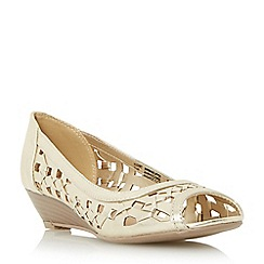 Head Over Heels by Dune - Gold 'Kosimo' laser cut out wedge sandal