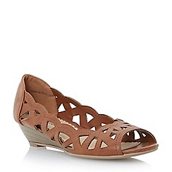 Head Over Heels by Dune - Tan 'Kosmo' laser cut out wedge sandal