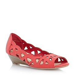 Head Over Heels by Dune - Red laser cut out wedge sandal