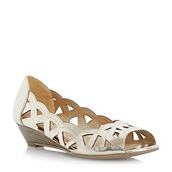 Head Over Heels by Dune - Metallic laser cut out wedge sandal