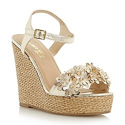 Head Over Heels by Dune - Gold 'Katona' floral front strap wedge sandal