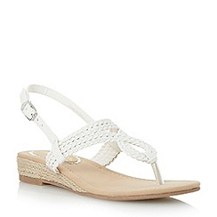 Head Over Heels by Dune - White 'Levies' mini wedge plaited toe post sandal