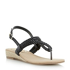Head Over Heels by Dune - Black 'Levies' mini wedge plaited toe post sandal