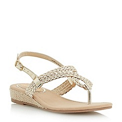 Head Over Heels by Dune - Gold 'Levies' mini wedge plaited toe post sandal