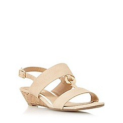 Head Over Heels by Dune - Natural 'Kalipso' ring trim mini wedge sandal