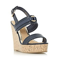 Head Over Heels by Dune - Navy 'Kaylee' two part cork wedge sandal