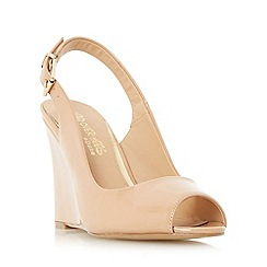 Head Over Heels by Dune - Natural 'Keeki' peep toe slingback wedge sandal