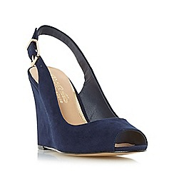 Head Over Heels by Dune - Navy 'Keeki' peep toe slingback wedge sandal